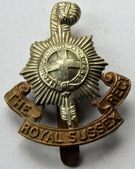 WW1 Royal Sussex Regiment Cap Badge - Confessor the shop for all Collectables Coins Badges Banknotes Medals Tokens militaria