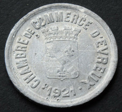 1921 France Chambre de Commerce, Evreux, 25 Centimes coin token - Confessor the shop for all Collectables Coins Badges Banknotes Medals Tokens militaria