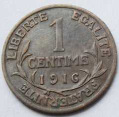 1916 France Dupuis 1 Centime Bronze high grade coin - Confessor the shop for all Collectables Coins Badges Banknotes Medals Tokens militaria