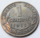 1911 France Dupuis 1 Centime Bronze high grade coin