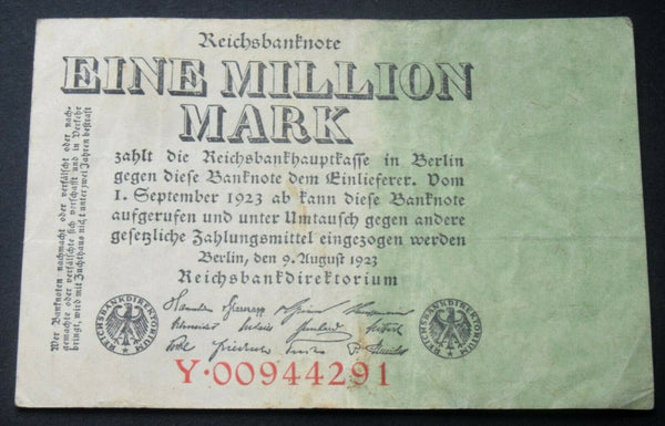 Berlin German currency 1 Eine Million Mark 1 September 1923 banknote