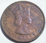 1958 ELIZABETH II  BRITISH CARIBBEAN TERRITORIES EASTERN GROUP 2 CENTS coin