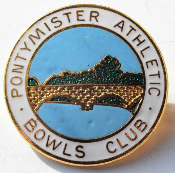 PONTYMISTER ATHLETIC.  BOWLS CLUB.  ENAMEL BADGE