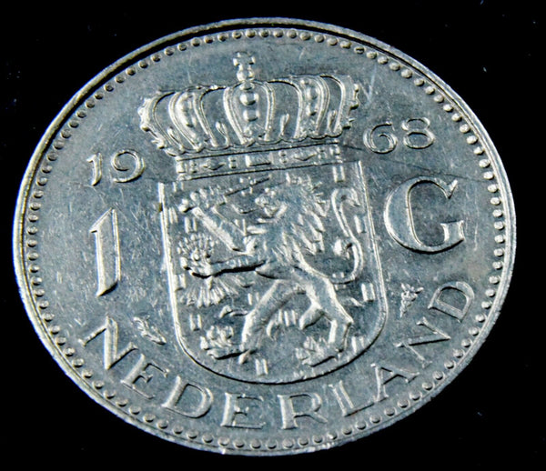 1968 Netherlands 1 Gulden  Queen Juliana coin