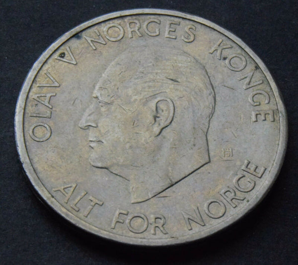 1969 Norway  5 Kroner King Olav V coin