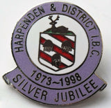 Harpenden & District  BOWLING CLUB Silver Jubilee ENAMEL BADGE