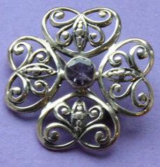 Beautiful Vintage Sterling Silver And Real Amethyst Flower And Butterfly Brooch - Confessor the shop for all Collectables Coins Badges Banknotes Medals Tokens militaria