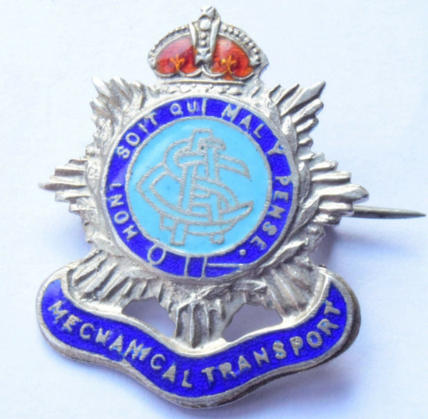 WWII MECHANICAL TRANSPORT BRITISH ARMY SILVER ENAMEL SWEETHEART BADGE BROOCH
