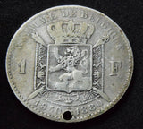 1880 Belgium Belgique 1 Franc Independence Anniversary silver coin