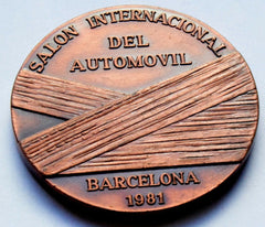 1981 Spain Barcelona car Medal  Salón Internacional del Automóvil  Barcelona - Confessor the shop for all Collectables Coins Badges Banknotes Medals Tokens militaria