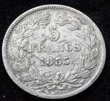 1835 W France 5 Francs   Louis-Philippe, Lille, Silver  Coin, KM:749.13