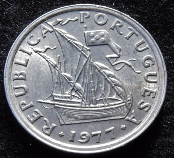 1977  Portuguese Portugal  2$50 sailing ship Escudos high grade coin