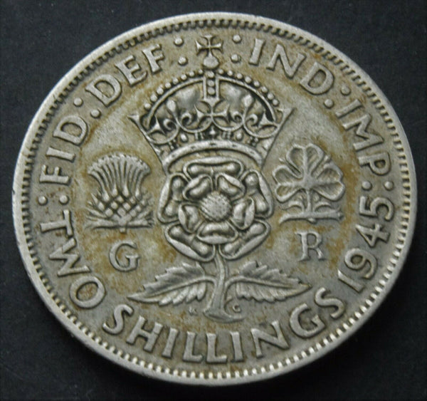 1945 King George VI  Florin (two shillings) silver coin