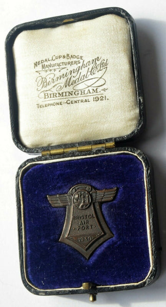 Rare 1930 Bristol Airport Bristol International Air Pageant Medal in case