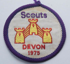 Vintage Scouting Boy Scout SCOUTS DEVON 1975 Badge  Cloth Patch. - Confessor the shop for all Collectables Coins Badges Banknotes Medals Tokens militaria