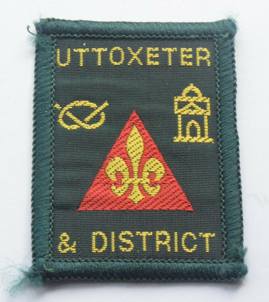 Vintage Scouting Boy Scout  UTTOXETER Badge  Cloth Patch.