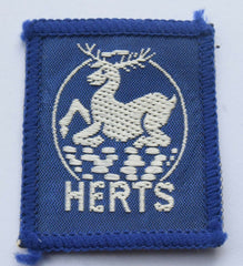 Vintage Scouting Boy Scout  HERTS  Badge  Cloth Patch. - Confessor the shop for all Collectables Coins Badges Banknotes Medals Tokens militaria