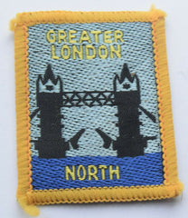 Vintage Scouting Boy Scout GREATER LONDON NORTH Badge  Cloth Patch. - Confessor the shop for all Collectables Coins Badges Banknotes Medals Tokens militaria