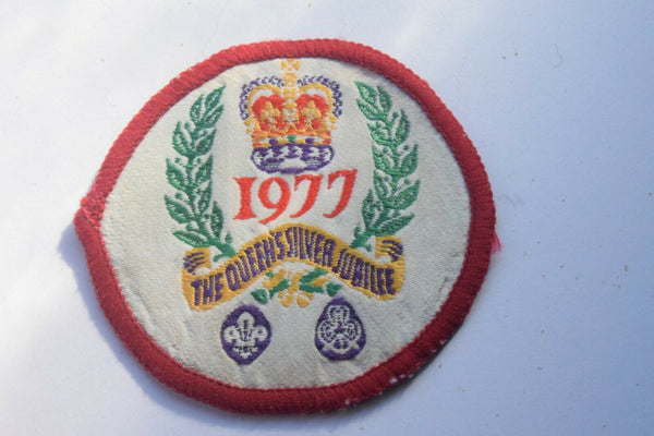 Vintage Scouting Boy Scout 1977 Queens Silver Jubilee Badge  Cloth Patch.