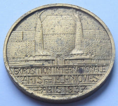 "1937 International ""Arts & Techniques"" exhibition in Paris. Glass work medal - Confessor the shop for all Collectables Coins Badges Banknotes Medals Tokens militaria"