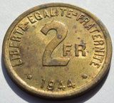 WWII 1944 France Brass 2 Francs  Issued during Allied Occupation Coin High Grade