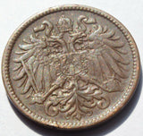 1909 AUSTRIA 2 HELLER high grade coin