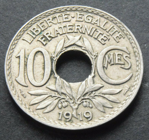 1919 France 10 Centimes high grade coin