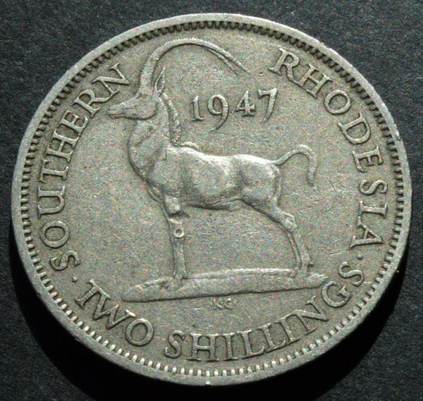 1947 Southern Rhodesia 2 Shillings Copper Nickel Coin