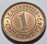 1949 Mauritius King George VI 1 Cent High Grade COIN