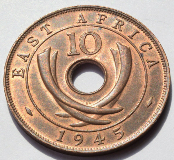 1945 SA East Africa 10 Cents  HIGH GRADE COIN