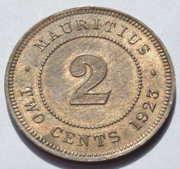 1923 MAURITIUS King George V 2 CENTS high grade coin