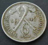 1947 Southern Rhodesia 6 pence, George VI, coin