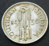 1935 Southern Rhodesia 3 Pence high grade coin Low Mintage