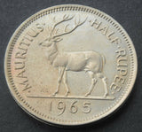 1965 Mauritius Queen Elizabeth II ~ Half Rupee Coin in high grade