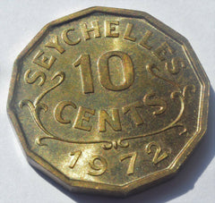1972 SEYCHELLES Queen Elizabeth II 10 CENTS high grade coin - Confessor the shop for all Collectables Coins Badges Banknotes Medals Tokens militaria