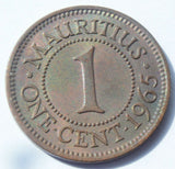 1965 Mauritius Queen Elizabeth II  1 One Cent high grade Coin
