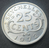 1972 Seychelles 25 Cents high grade coin