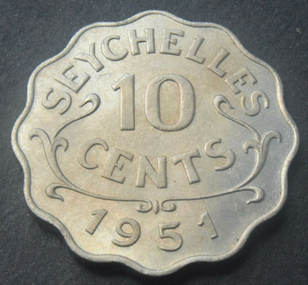 1951 SEYCHELLES 10 Cents King George VI high grade coin