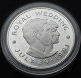 1981 Jersey 2 Pounds ROYAL WEDDING Charles + Diana Proof silver coin