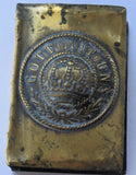 RARE WWI TRENCH ART BRASS MATCH BOX HOLDER -GERMANY GOTT MIT UNS