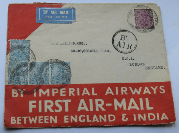 1929 India to England First Air Mail flight cover Imperial Airways with letter