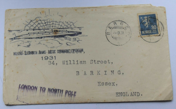 1931 Wilkins-Ellsworth Trans Arctic Submarine Expedition Uss Nautilus cover