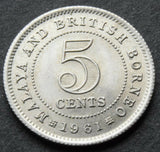 1961 Malaya & British Borneo 5 Cents high grade coin