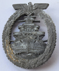 WWII Original Kriegsmarine High Seas Fleet Badge; French Made