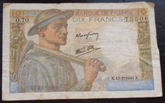 France 1944 WWII 10 FRANCS BANKNOTE GERMAN OCCUPIED France
