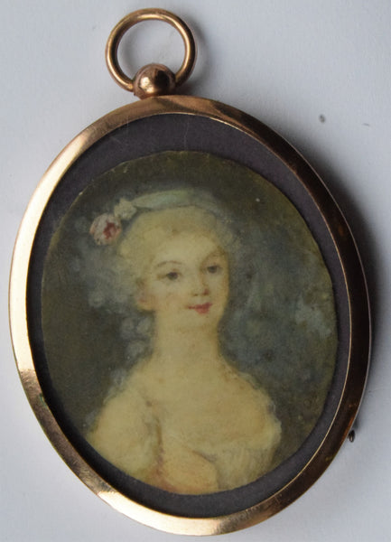 C19th  young lady in perod dress hand painted miniature portrait