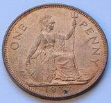 1937 British - 1d One Penny King George VI - high grade with Lustre UK coin