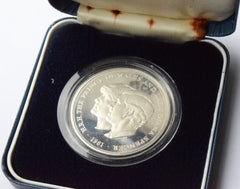 1981 Silver Proof UK Coin Commemorating Marriage of Prince Charles Lady Diana COA