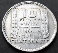 1932 France French Republic Silver 10 Franc Coin