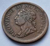 1832 Canada Nova Scotia King George IV Penny Token coin
